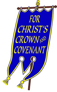 The Blue Banner. This is the logo of the Reformed Presbyterian Church of North America.