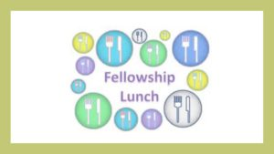 "Picture of food and eating utensils, ""Fellowship Lunch"""